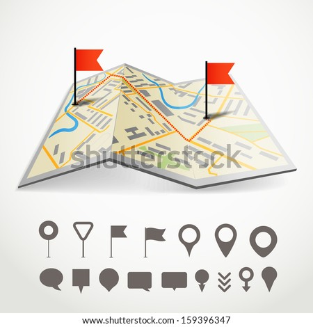 Folded abstract city map with the route and collection of different pins - stock vector