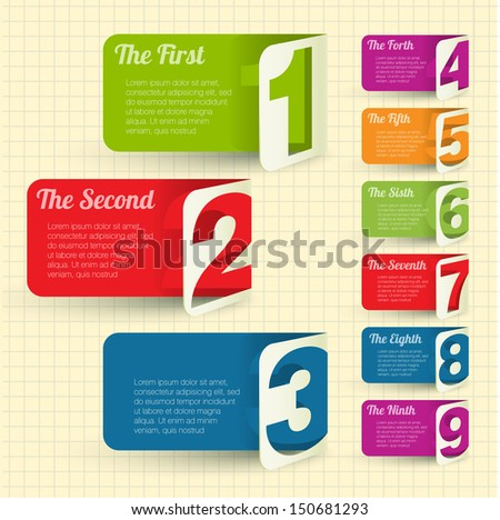 Folded cardboard labels with figures from one to eight. Vector design element set. - stock vector