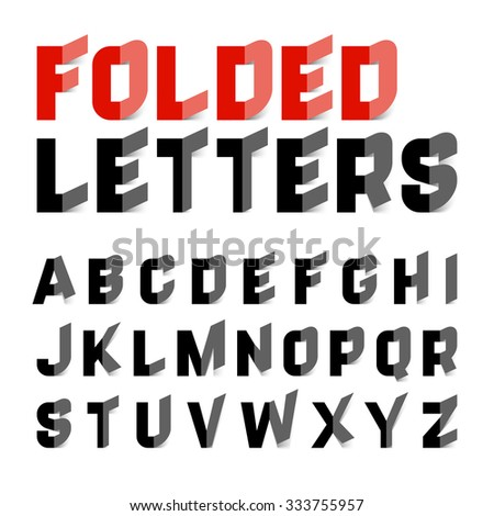 Folded letters font. Vector. - stock vector