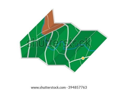 folded map simple illustration - stock vector