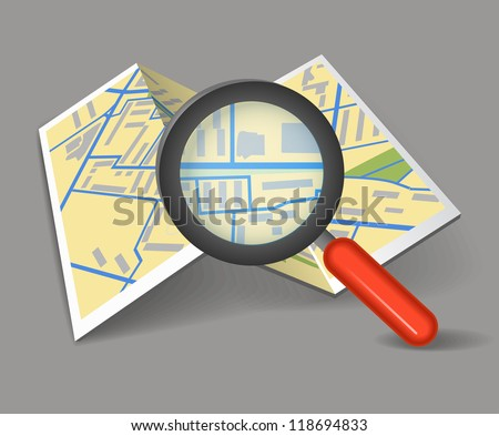 Folded map with magnifying glass - stock vector