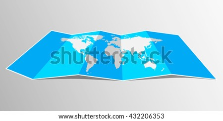 Folded maps, vector world map. Flat design. - stock vector
