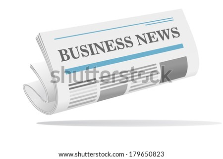 Folded newspaper icon with header Business News isolated on white background for media design - stock vector
