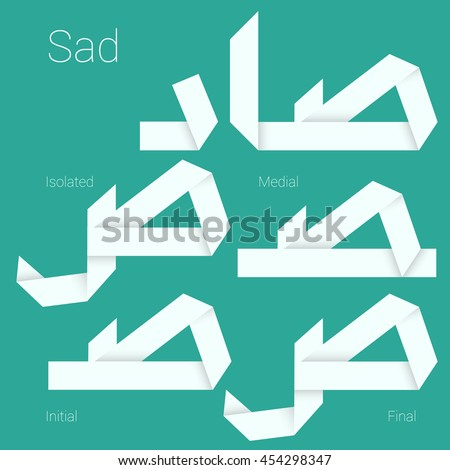 Folded paper Arabic typeface.Letter Sad.  Arabic decorative character set stylized as paper ribbon artisan for interface, poster and web design. Isolated, initial, medial and final forms.  - stock vector