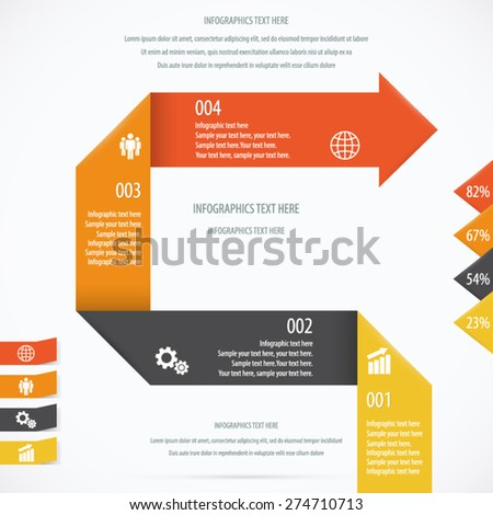 Folded Paper Design Infographic Background. EPS 10 vector. - stock vector