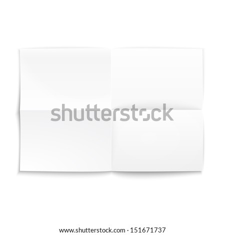 Folded paper on white background with soft shadows. Vector illustration. - stock vector