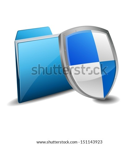 folder and protection shield  - stock vector