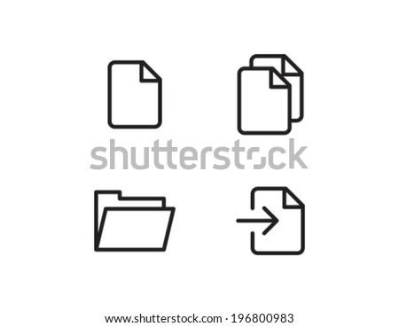 Folder File Outline Icon Symbol - stock vector