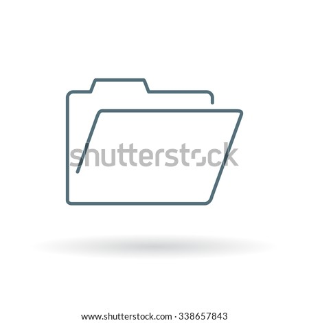 Folder icon. Folder sign. Folder symbol. Thin line icon on white background. Vector illustration. - stock vector