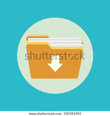 folder icon with download mark flat design - stock vector