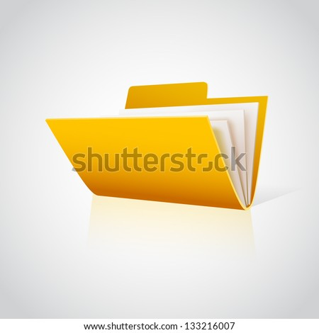 Folder icon with paper on white. Vector - stock vector