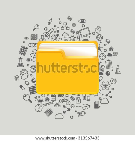 Folder icon with paper on white. Vector illustration - stock vector