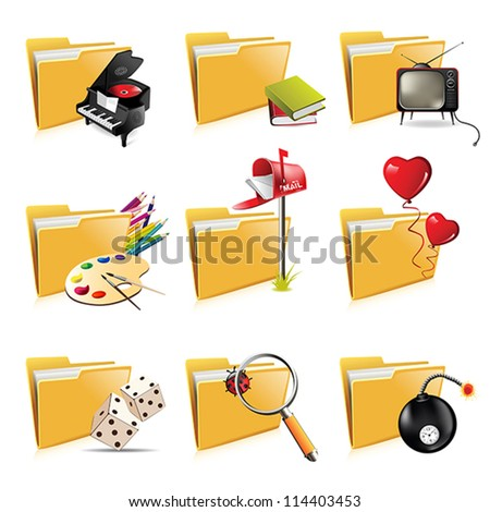 Folder icons isolated - stock vector