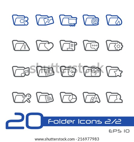 Folder Icons - 2 of 2 // Line Series - stock vector