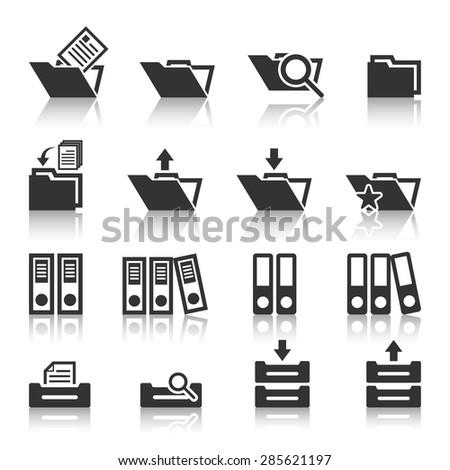 Folder icons set,Vector EPS10. - stock vector