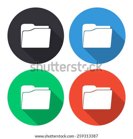 Folder vector icon - colored(gray, blue, green, red) round buttons with long shadow - stock vector