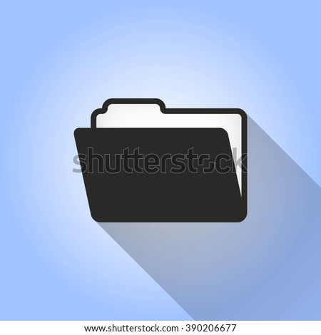 Folder   vector icon with long shadow.  Illustration  for graphic and web design. - stock vector