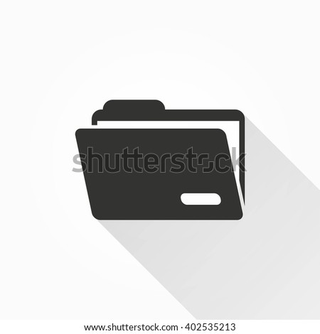 Folder   vector icon with long shadow. Illustration isolated on with background for graphic and web design.   - stock vector