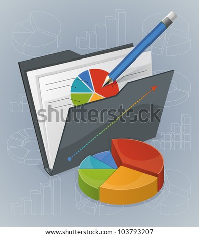 Folder With Chart And Pencil - stock vector
