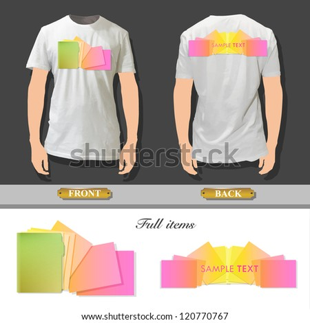 Folder with colorful sheets printed on white shirt. Vector design. - stock vector