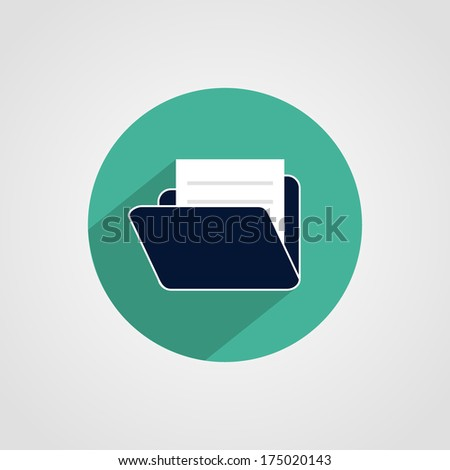 Folder with Documents Icon Isolated on White Background - stock vector