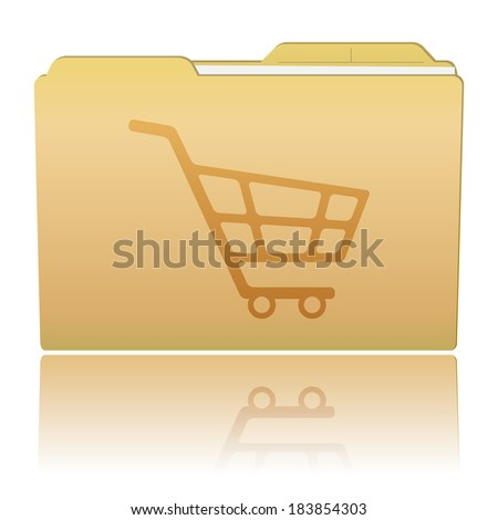Folder with Shopping Cart  - stock vector