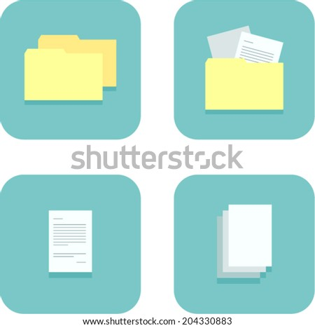 folders and documents icons - stock vector