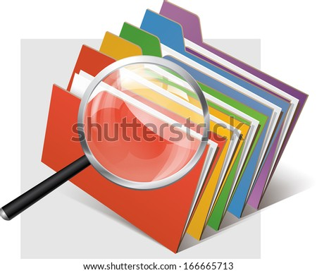 folders and magnifier glass - stock vector