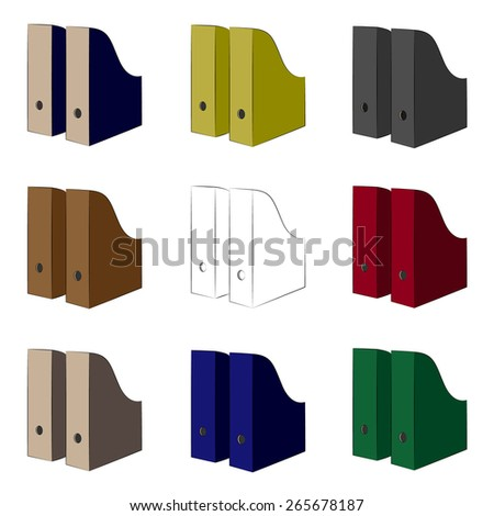 Folders for documents. Document folders. Icons colored folders for documents. Different folders for the office. Contour . Vector  illustration. Eps 10. - stock vector