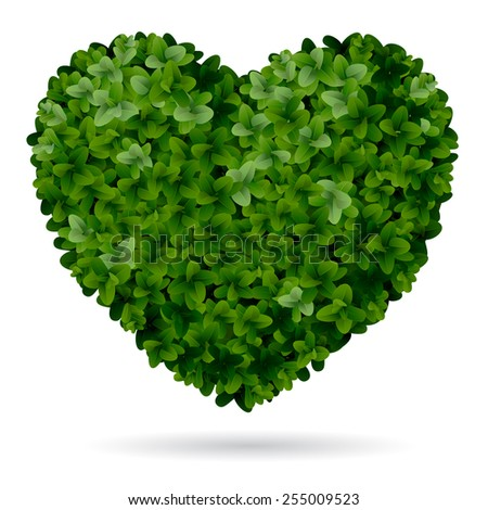 Foliage heart, symbol of love for nature. - stock vector