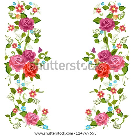 Foliate border with roses blossom - stock vector