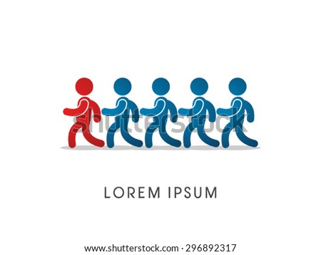 Follow, leader, working, team work,  icon graphic vector. - stock vector