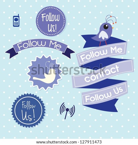Follow me and follow us, Icons on blue background. Vector illustration - stock vector