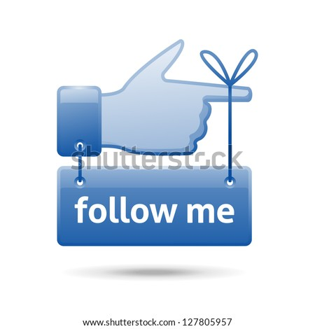 follow me sign, eps10 vector - stock vector