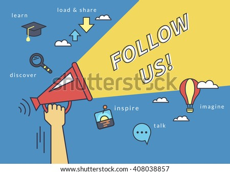 Follow us banner for social networks. Flat line contour illustration of human hand holds red megaphone with yellow speech bubble. Template design on blue background - stock vector