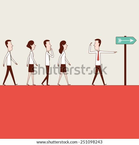 Following The Leader - stock vector