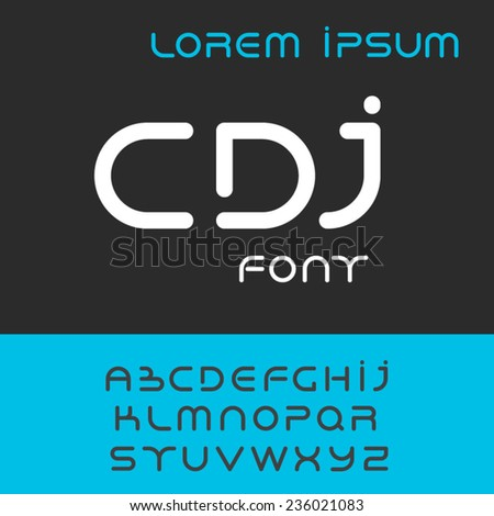 font alphabet set, rounded, cdj name - stock vector