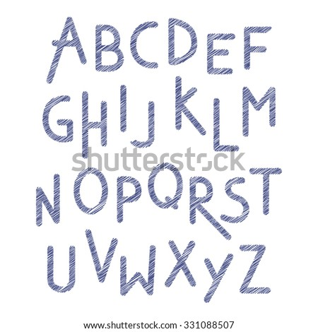 Font children. Blue scribble alphabet. Letters in child style. Alphabet written by pen. Cartoon ABC isolated on white. Vector illustration - stock vector
