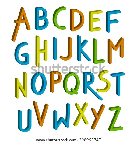 Font children. Colorful alphabet. Letters in child style. Cartoon ABC. Vector illustration - stock vector