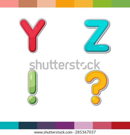 Font Cute Design Cartoon Style Vector Set Y Z - stock vector