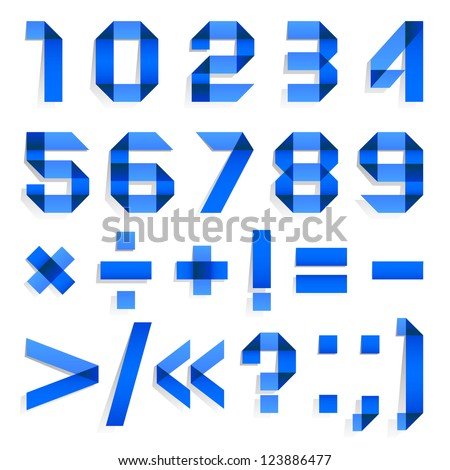 Font folded from colored paper - Arabic blue numerals (0, 1, 2, 3, 4, 5, 6, 7, 8, 9). - stock vector