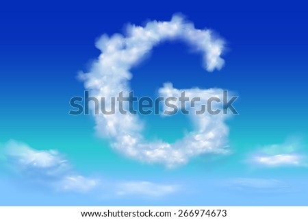 Font from the clouds concept.G - stock vector