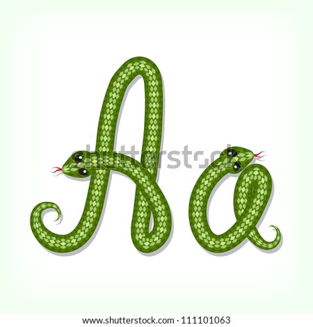 Font made from green snake. Letter A - stock vector