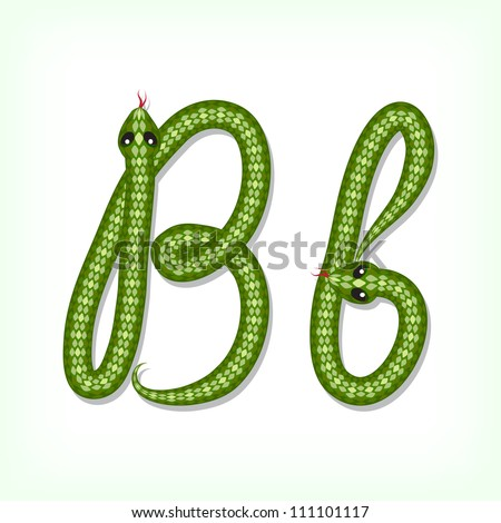 Font made from green snake. Letter B - stock vector