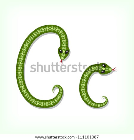 Font made from green snake. Letter C - stock vector