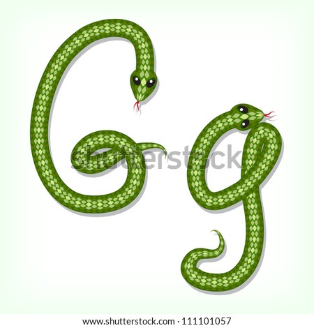 Font made from green snake. Letter G - stock vector