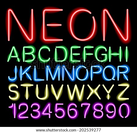font neon alphabet numbers in vector format - stock vector