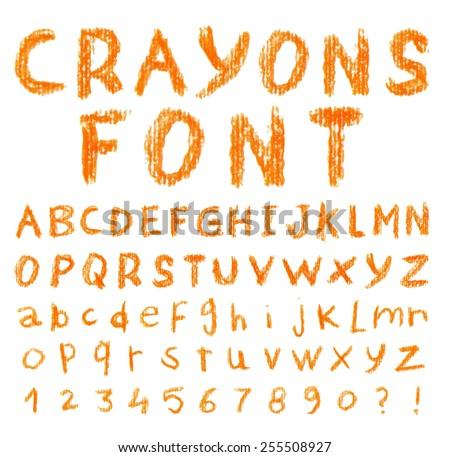 Font pencil crayon. Handwritten Vector illustration. - stock vector