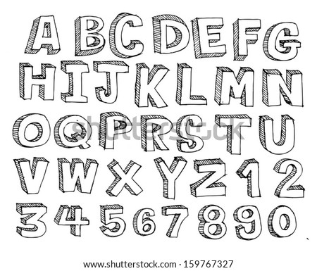 Font Sketch Hand drawing vector letters - stock vector