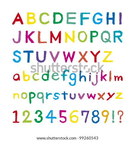 Font was drawn with a crayon - stock vector
